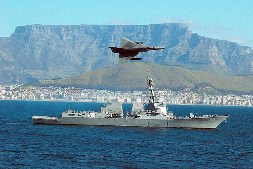 SAAF Cheetah C flying over USS Forrest Sherman off Cape Town in 2007