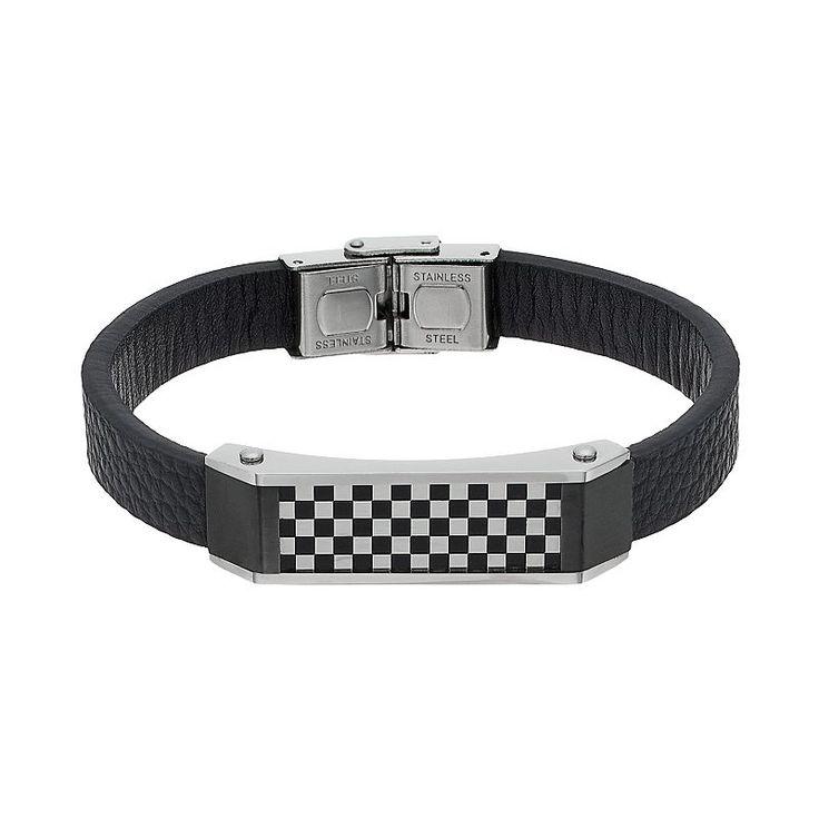 "Men's Stainless Steel & Black Leather Checkerboard Bracelet, Size: 8.5"""