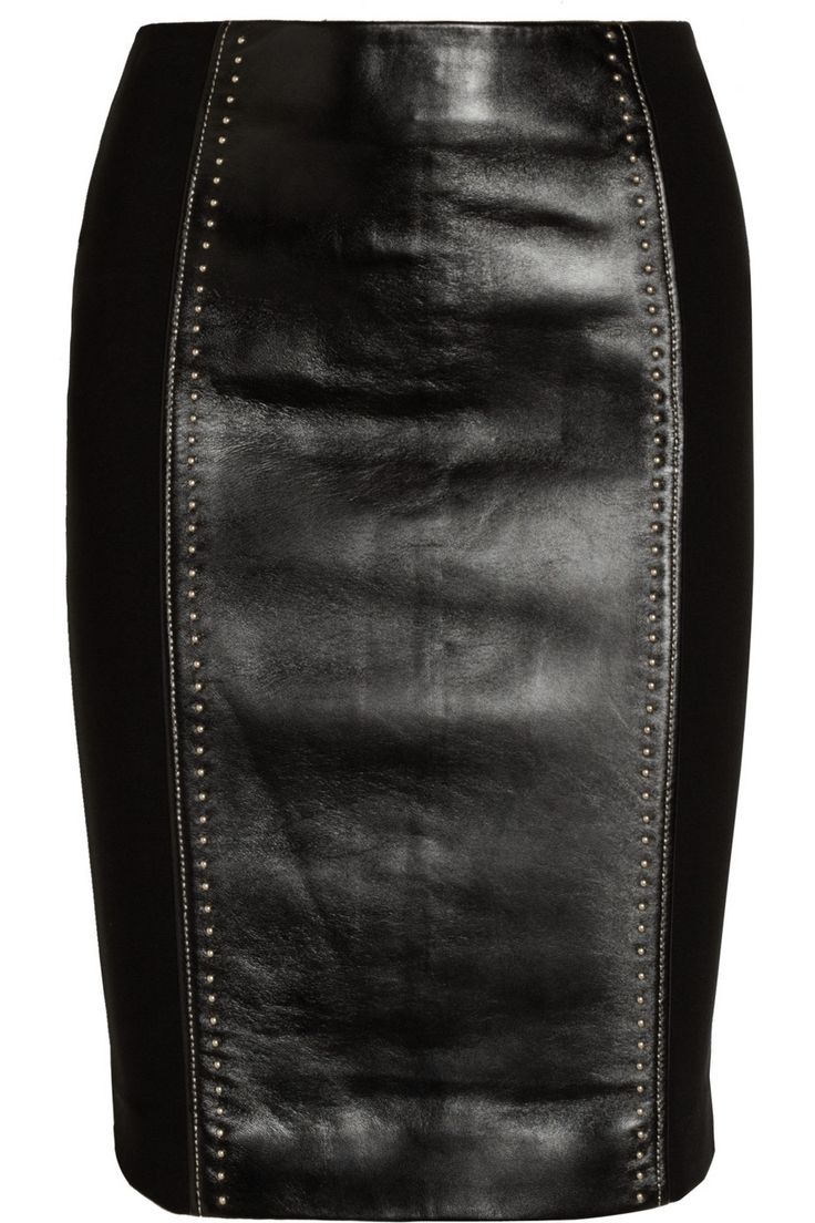 Versace | Studded leather and jersey pencil skirt