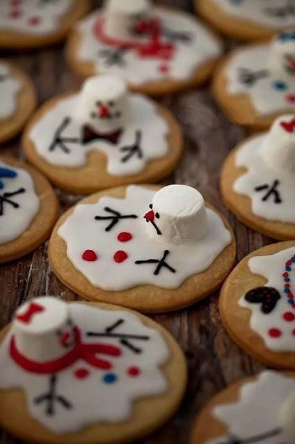 Melted Snowman Cookies for Christmas
