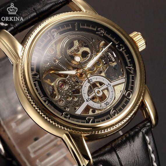 En cuir noir cadran or Sport mécanique squelette armée montre-bracelet Classic pour homme