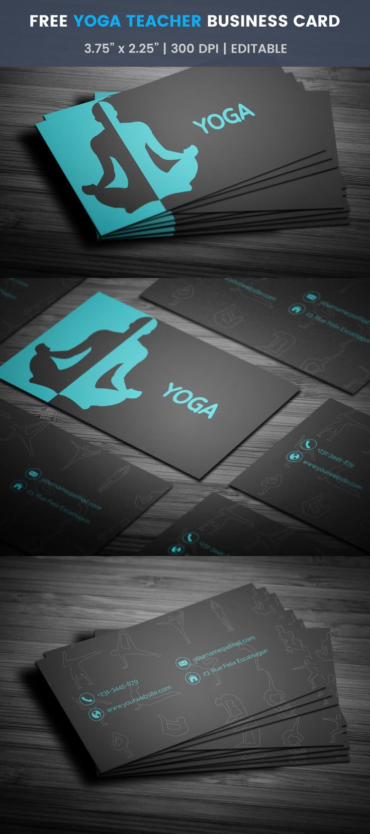 Best 200 free business card templates images on pinterest free yoga instructor business card colourmoves