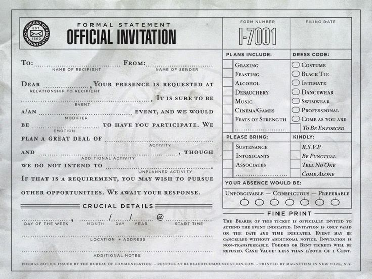 STRANGE OFFICIAL BLANK FORMS -  BASIC TEMPLATE IS DONE - YOU CREATE YOUR OWN UNIQUE NEEDS! - OFFICIAL INVITATION FORM