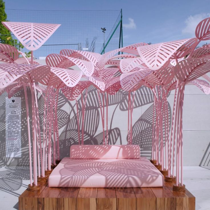 Created by Paris-based designer Marc Ange, this pink bed became the most Instagrammed installation at Milan design week. It is shaded beneath a canopy of pink leaf-shaped panels. It was one of the most photographed pieces of the entire event