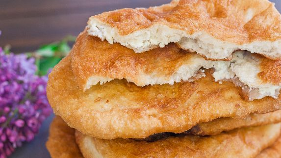 "Fried Dough Filled with Feta Cheese a.k.a. ""Langosi cu Branza"" (Romanian)"