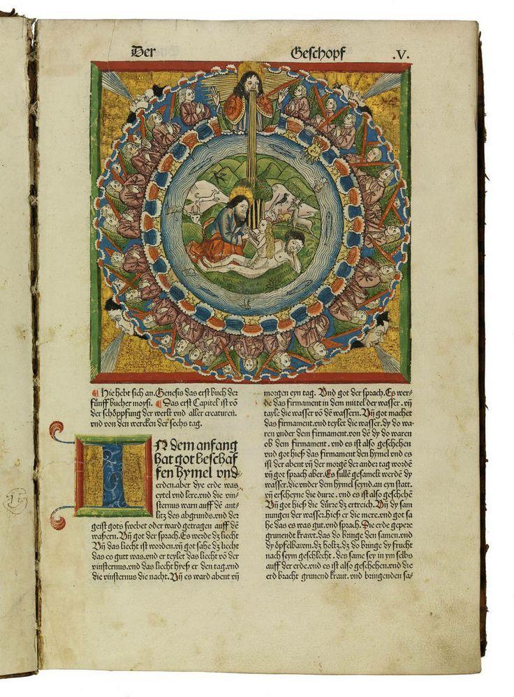 Kolorierter Holzschnitt und gerahmte Goldgrundinitiale aus einer deutschen Bibel, Nürnberg: Anton Koberger, 17.2.1483 (Inc.typ.A.II.1, fol. Vr).