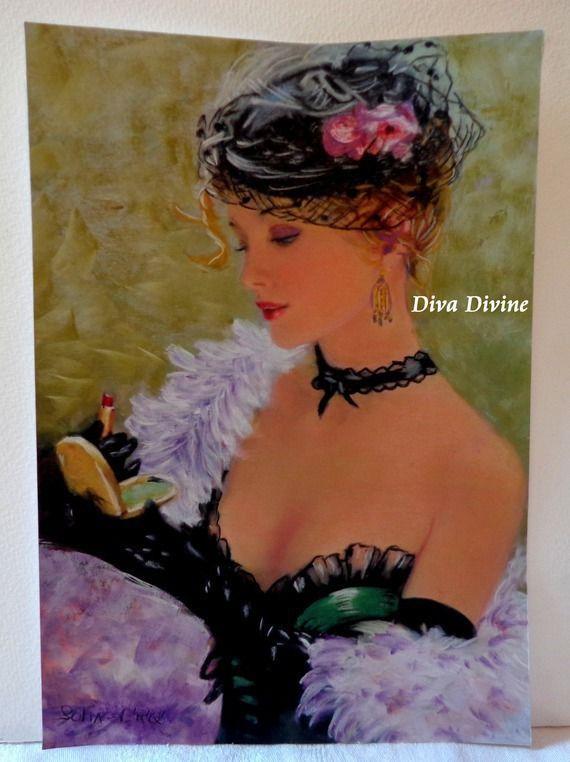 Pastel Sec pour Tableau Haute Couture, Rétro, Vintage, Portrait, * SOFIA * - Création Originale : Accessoires de maison par diva-divine
