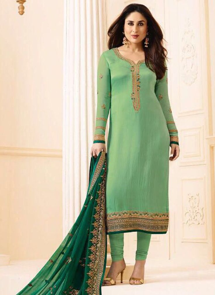 Buy Kareena Kapoor Green Georgette Straight Suit online, SKU Code: SLSCC6274. This Green color Party straight suit for Women comes with Embroidered Faux Georgette. Shop Now!