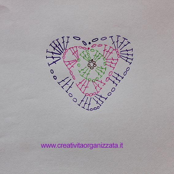 Schema cuore a uncinetto