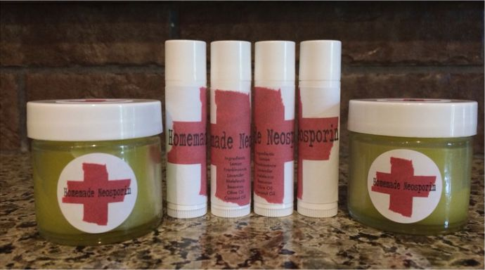 Yeah... You read that right!!! HOMEMADE NEOSPORIN!!  This salve is great for cuts and scrapes, hangnails, burns, bruises and bug  bites! It is a great moisturizer for hands, lips and heels. It is great  for eczema, break outs and works lightening speed fast or diaper rash.  Basically this is the swiss army knife of all salves!  Lavender, Melaleuca A., Lemon and Frankincense essential oils it is  antibacterial, antiseptic and anti-fungal!! Frankincense helps to stop  bleeding from wounds…