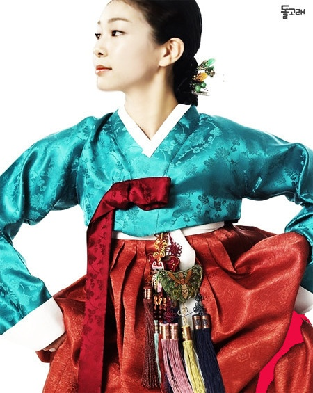 Figure skater Kim Yuna wearing the traditional Korean dress, Hanbok