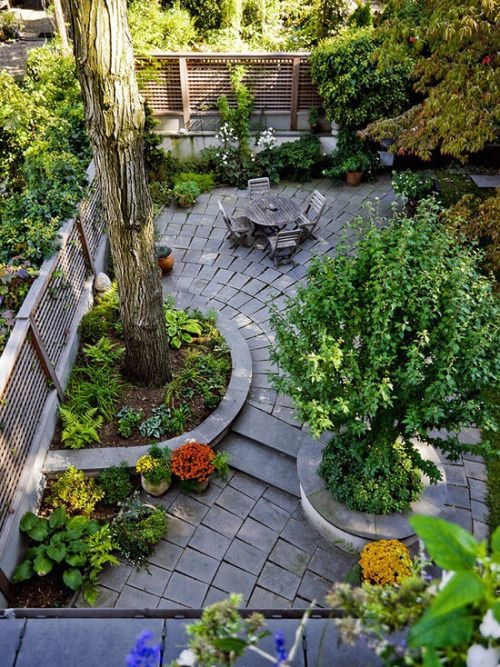 This love this outdoor space! Beautiful use of brick, hardscape and incorporating large trees and plants. This small, urban backyard is definitely one of our favorite!
