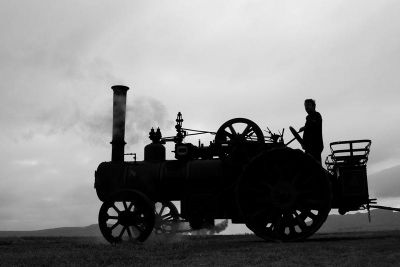 Black and white steam tractor