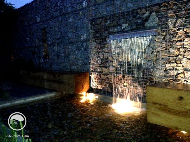 #landcape #architecture #garden #resting #place #bench #water #feature #cascade #night #light