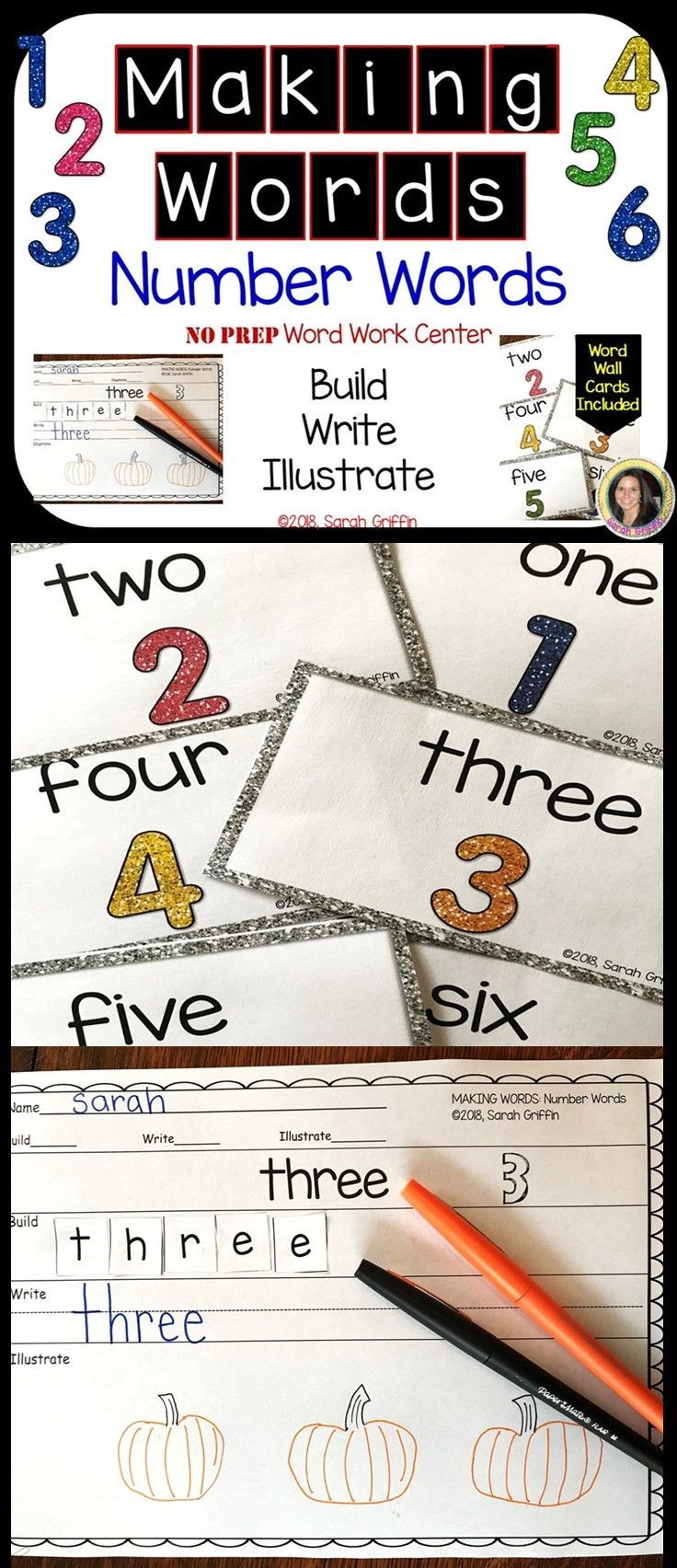 Making Words - Number Words - Writing and Math Center | All Things ...