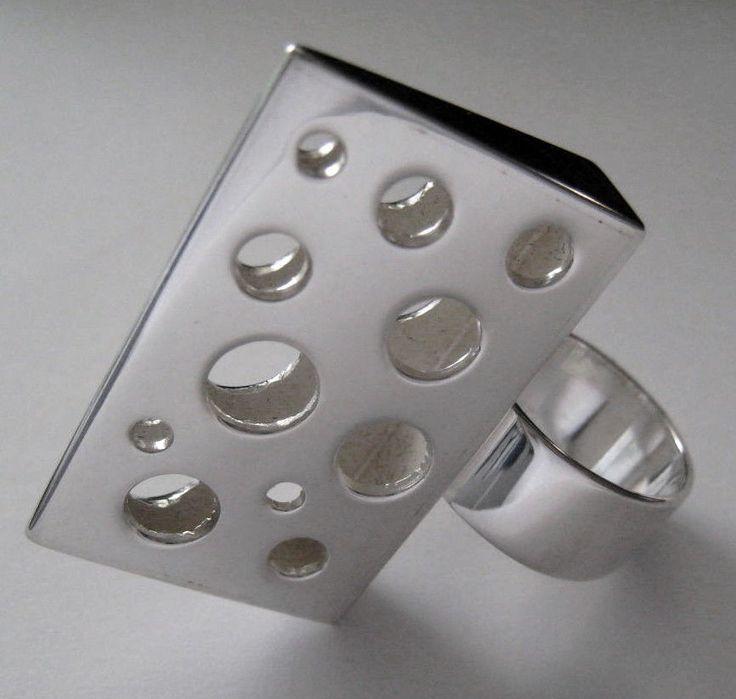 Sculptural vintage sterling designer ring, liisa vitali, finland, 1973