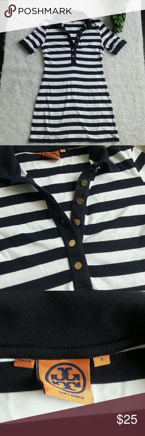 Tory Burch nautical polo stirped collar dress Tory Burch  Size small Nautical polo dress  Front buttons with Tory Burch logo as well on sleeves Has a tiny stain that is only noticeable if you look really close. I've added a pic so you can see Tory Burch Dresses Mini