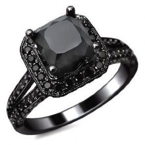 black+gold+black+diamond+rings | Black Gold Cushion Cut Black Diamond Engagement Ring - Unusual ...