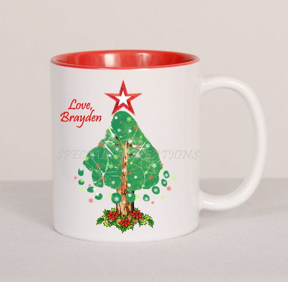 Items Similar To Holiday Christmas Tree Footprints Mug Created With Actual Baby And Toddler Personalized Gift On