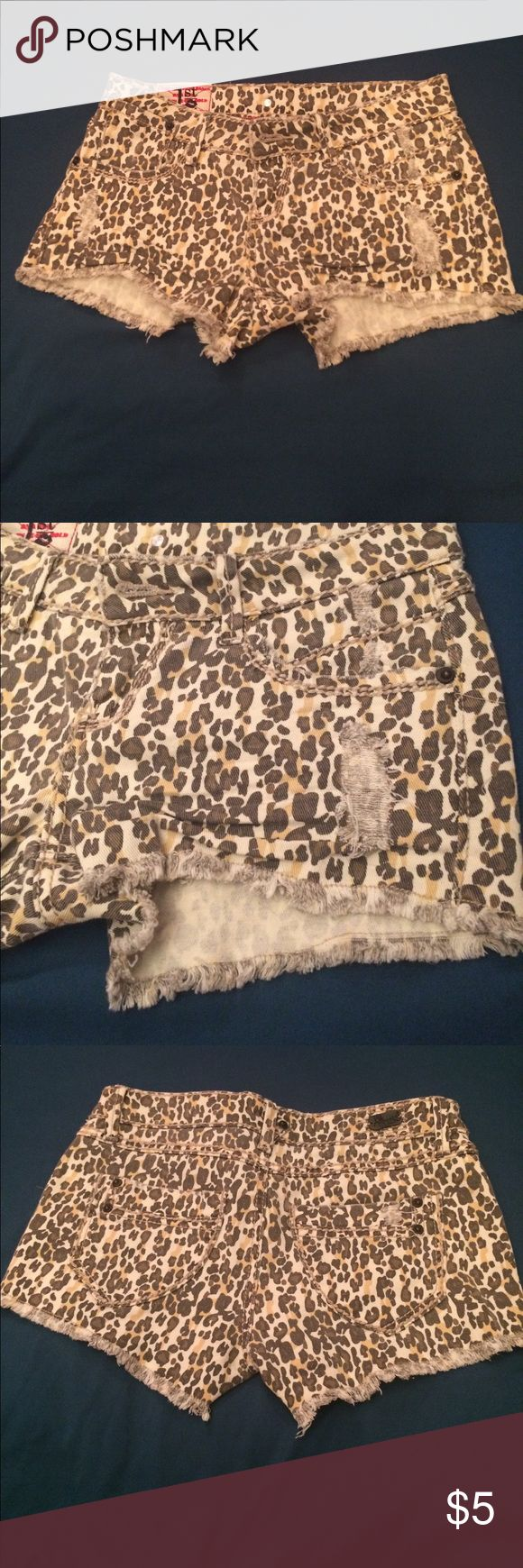 Cheetah Shorts! A pair of cheetah shorts! Great condition! Frayed style at bottom. Real pockets on front and back. Coming from a smoke free home! Same or next day shipping! 1st Kiss Shorts
