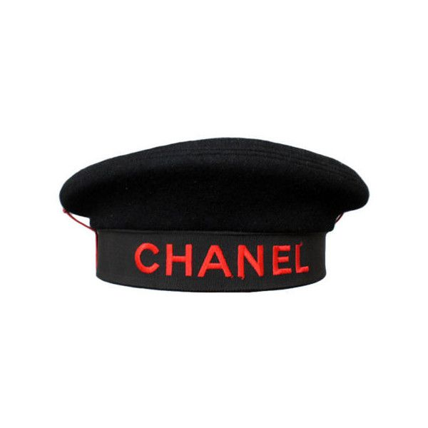 Chanel - CHANEL Black Beret with Stitched Red CHANEL Typography ❤ liked on Polyvore featuring accessories, hats, chanel, black hat, stitch hat, red hat and beret hat
