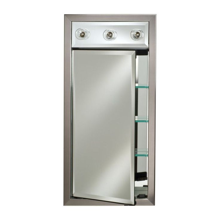 Afina Signature Collection Contemporary Integral Lighted Single Door 17W x 34H in. Recessed Medicine Cabinet - SD/LC1734R