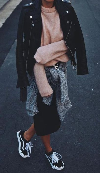 fall street style. knit. midi skirt. vans. leather jacket.