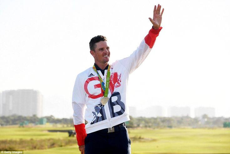 The Team GB star waved to the adoring crowd after securing the first Olympic golf gold medal for 112 years