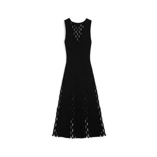 Mulberry Agnes Fluted Dress (£910) ❤ liked on Polyvore featuring dresses, v-neck dresses, transparent dress, sheer v neck dress, fishnet dress and panel dress