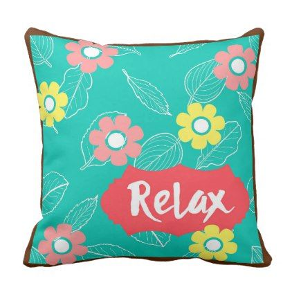 Teal Coral Pink Relax Spring Floral Throw Pillow - spring gifts beautiful diy spring time new year