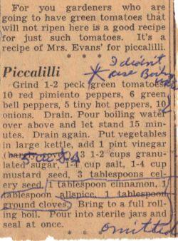 Vintage Recipe for Green Tomato Piccalilli - Clipping