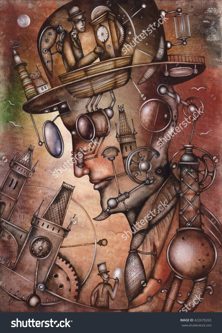 The subconscious illustration by Eugene Ivanov. #eugeneivanov #steampunk #science #fiction #fantasy #machinery #victorian #illustration #art #original  #@eugene_1_ivanov