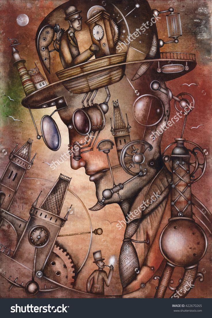 The subconscious illustration by Eugene Ivanov. #eugeneivanov #steampunk #science #fiction #fantasy #machinery #victorian #illustration #art #original  #@eugene_1_ivanov