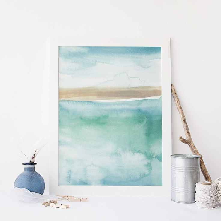 Modern Beach Painting Blue Green Watercolor Wall Art Print Or
