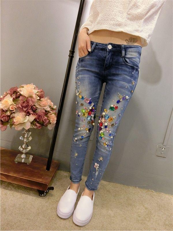 £: European 2015 spring new diamond beading Slim jeans feet pencil pants were thin stretch jeans
