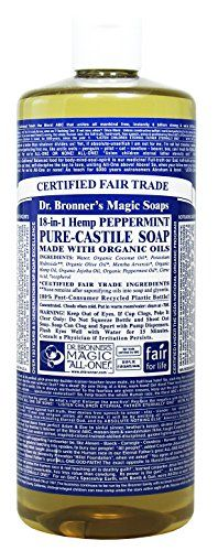 Dr. Bronner's Magic Soaps Pure-Castile Soap, 18-in-1 Hemp Peppermint, 32 Ounce Bottle