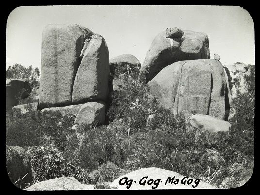 Og Gog and Magog. Mt Buffalo. Alice Manfield lantern slide. 1900's.