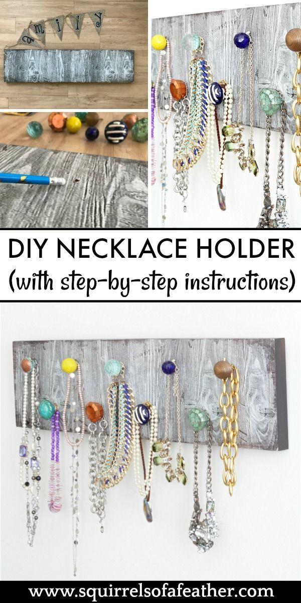 How To Make A Diy Necklace Holder To Organize Your Jewelry In 2020 Diy Necklace Holder Necklace Organizer Diy Diy Necklace