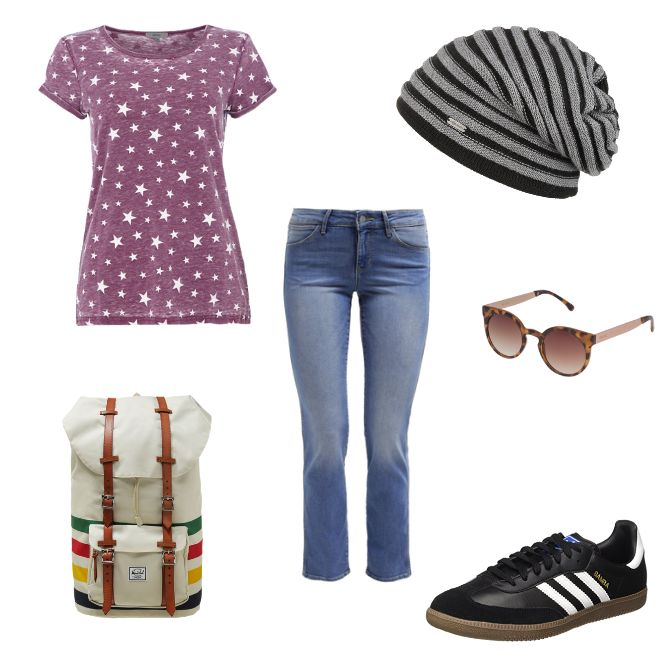 OneOutfitPerDay 2016-05-14 Sternenprint Sommeroutfit Wanderoutfit - #ootd #outfit #fashion #oneoutfitperday #fashionblogger #fashionbloggerde #frauenoutfit #herbstoutfit - Frauen Outfit Frühlings Outfit Outfit des Tages Sommer Outfit adidas Beanie Herschel Jeans Komono McBURN Montego Rucksack Sommeroutfit Sommeroutfit 2016 Sommeroutfit 2016 Damen Sternen-Print Tagesrucksack Wandern Wanderoutfit Wrangler