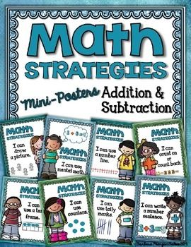Great math strategy posters for addition and subtraction!
