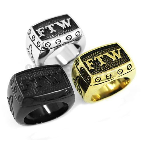 Wholesale FTW Middle Finger Motor Biker Ring Stainless Steel Jewelry Cool Silver Black Gold Mechanical Screw Men Ring SWR0376