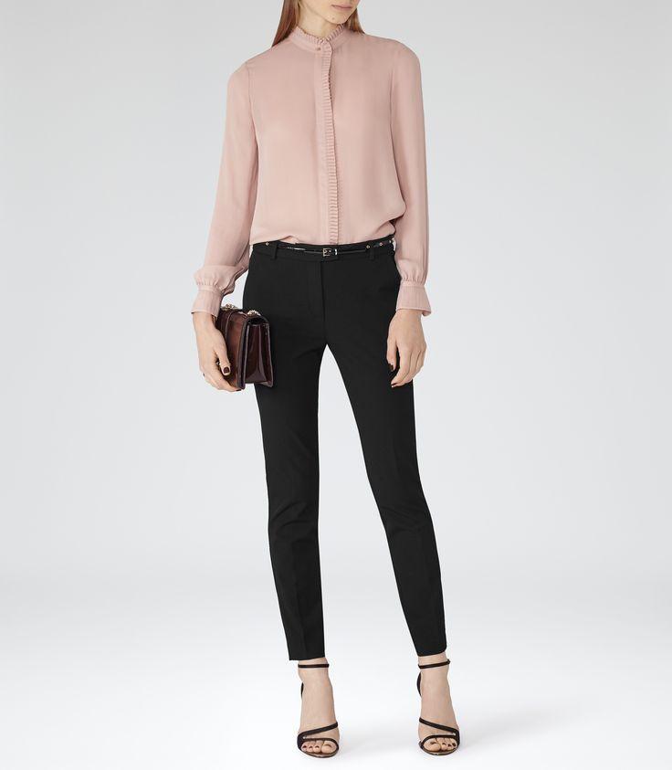 Womens Pink Chalk Pleat-detail Silk Blouse - Reiss Felton