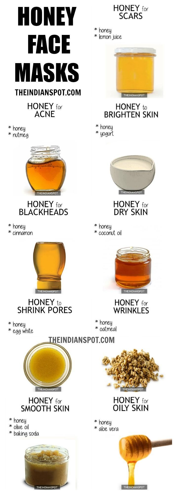 Use honey for smooth skin, for oily skin, and blackheads.  Skincare tips using honey for all skin types.