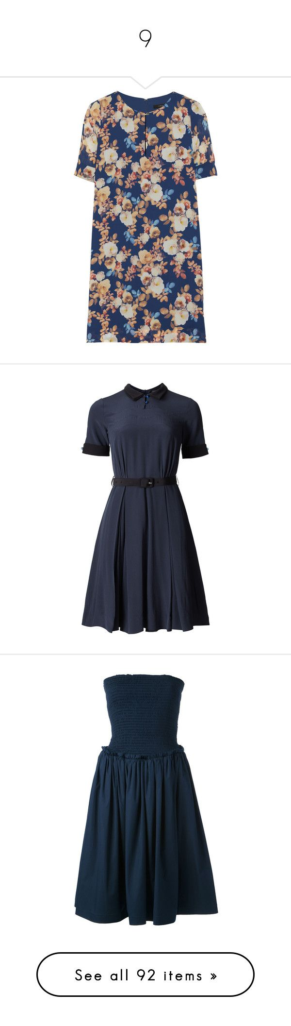 """""""9"""" by makino13 ❤ liked on Polyvore featuring dresses, vestidos, navy, blue floral print dress, blue dress, multi color dress, navy floral dress, petite dresses, short dresses and day dresses"""