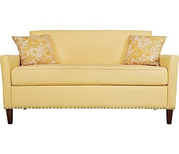 warm, buttery, creamy yellow from angelo:HOME and @furniture Crate.com - Sutton Sofa in Washed Buttercream Yellow
