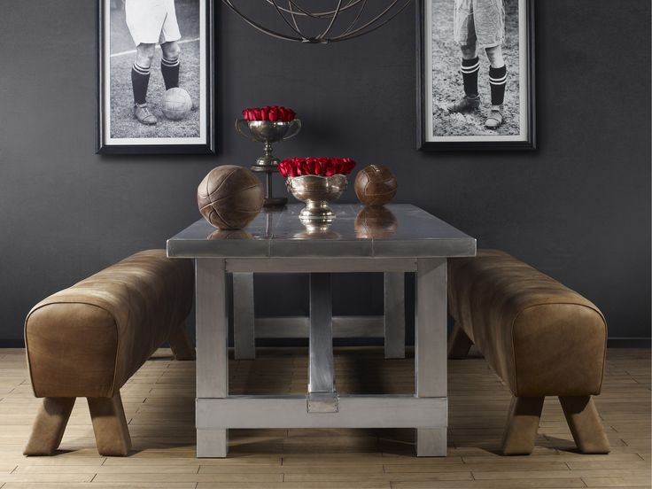 The smooth aluminium Aero top gives a modern twist to this classic table, combining the architectural design of the piece with unexpected materials for an added visual dimension. The chunky base is handcrafted from Genuine English Reclaimed Timber with a rich storied past. De-nailed, hand finished and re-invented for casual, relaxed dining. #Timothyoulton #industrialluxe #industrialinteriors #dawsonandco