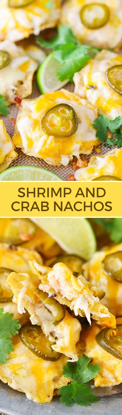 Shrimp and Crab Nachos - a great appetizer full of seafood, cheese and lots of flavor!
