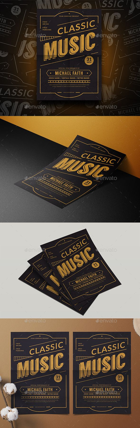 Music Classic Flyer Template PSD, AI Illustrator