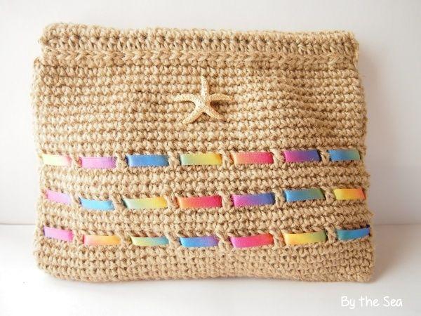 ハンドメイドマーケット minne(ミンネ)| 麻紐×レインボー スターフィッシュ 編み クラッチバッグ