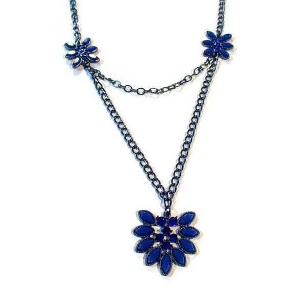 Blue and Oxidized Iron Glam Necklace by IZZIEandOLIN on Etsy
